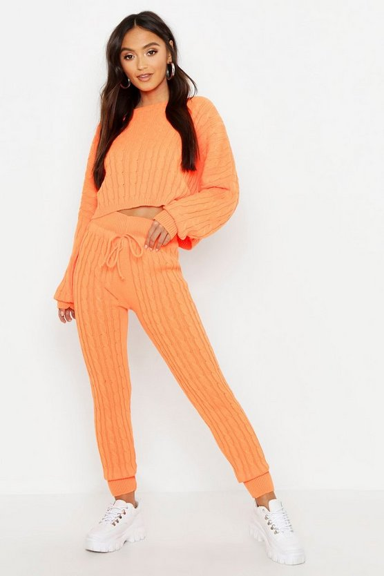 Womens Orange Petite Neon Cable Knit Lounge Set
