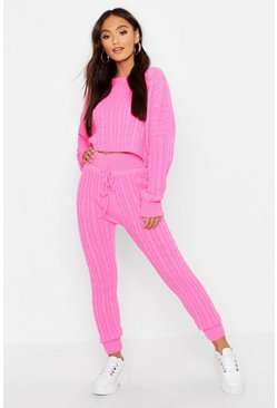 Womens Pink Petite Neon Cable Knit Lounge Set