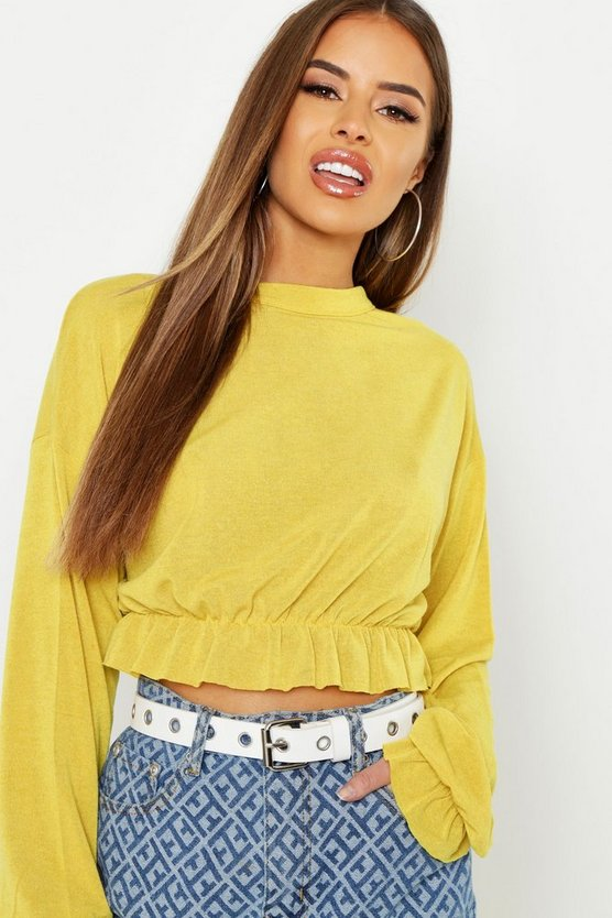 Womens Mustard Petite Ruched Frill Hem Knitted Top