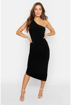 Womens Black Petite Double Slinky One Shoulder Midaxi Dress