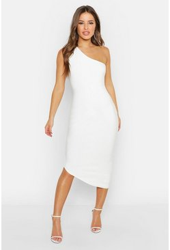Womens White Petite Double Slinky One Shoulder Midaxi Dress