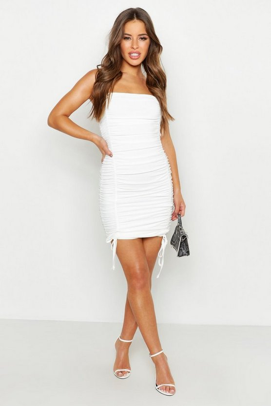 Womens White Petite Double Slinky Ruched Front Bodycon Dress