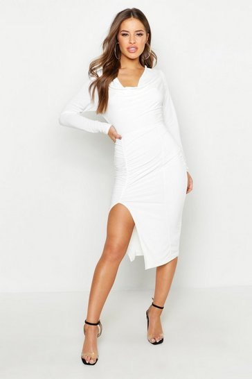 Womens White Petite Double Slinky Cowl Midi Dress