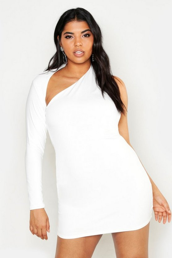 Womens White Plus Double Slinky One Shoulder Bodycon Dress