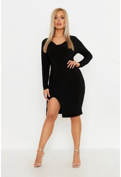 Womens Black Plus Double Slinky Cowl Neck Midi Dress