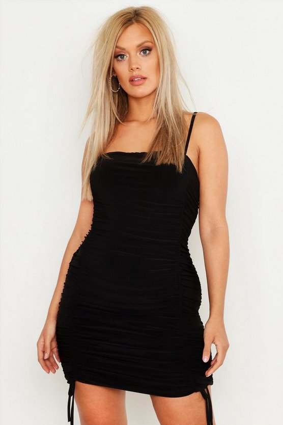 Womens Black Plus Double Slinky Ruched Front Bodycon Dress