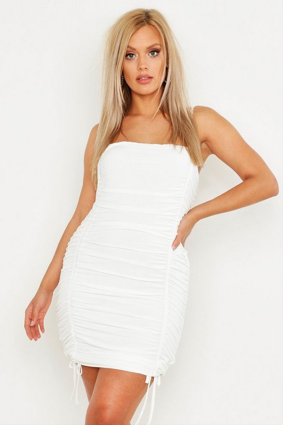 Womens White Plus Double Slinky Ruched Front Bodycon Dress
