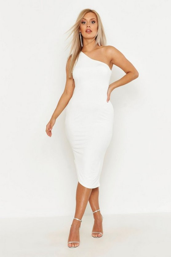 Womens White Plus Double Slinky One Shoulder Midaxi Dress