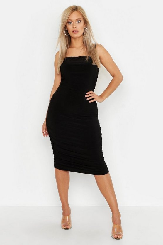 Womens Black Plus Double Slinky Ruched Midaxi Dress