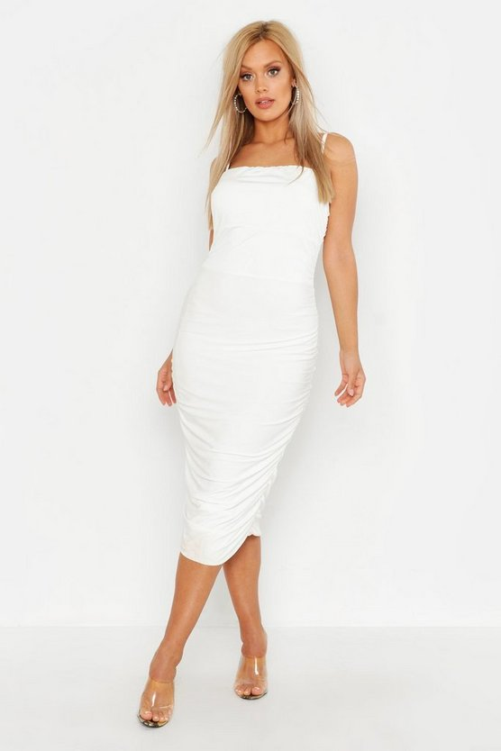 Womens White Plus Double Slinky Ruched Midaxi Dress