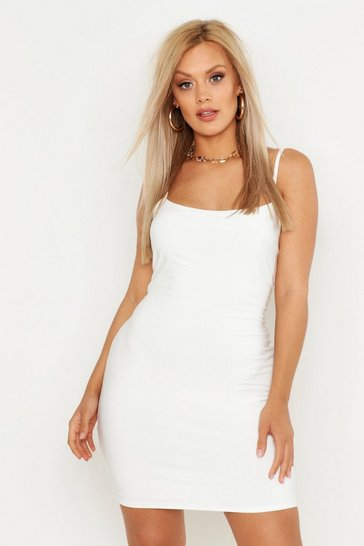 Womens White Plus Double Slinky Scooped Bodycon Dress