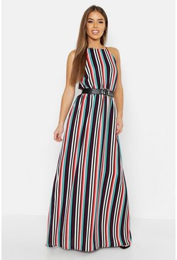 White Petite Candy Stripe Maxi Dress