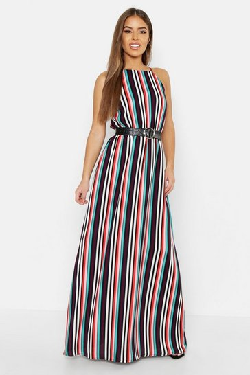 Womens White Petite Candy Stripe Maxi Dress