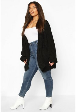 Black Plus Chunky Knit Raglan Sleeve Cardigan