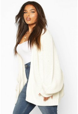 Womens Oatmeal Plus Chunky Knit Raglan Sleeve Cardigan