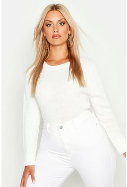 Womens Ivory Plus Ribbed Crew Neck Jumper