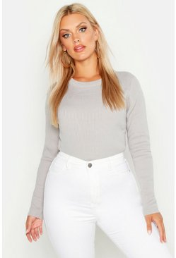 Womens Silver Plus Ribbed Crew Neck Jumper