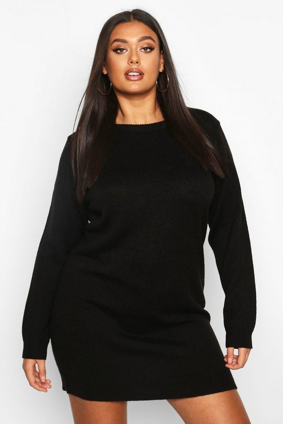 Black Plus Crew Neck Long Sleeve Dress