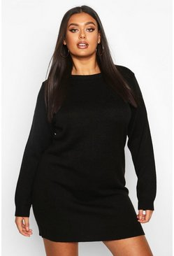 Womens Black Plus Crew Neck Long Sleeve Dress