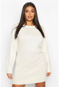 Dam Ivory Plus Crew Neck Long Sleeve Dress