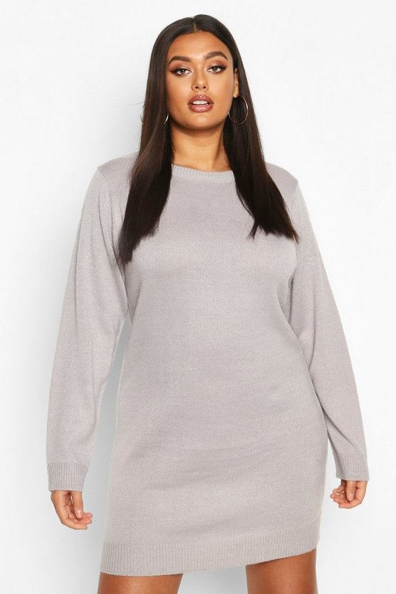 Silver Plus Crew Neck Long Sleeve Dress