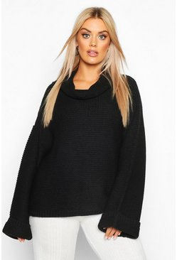 Black Plus Cowl Neck Jumper With Split Side Seam