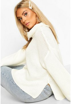 Ivory Plus Cowl Neck Jumper With Split Side Seam