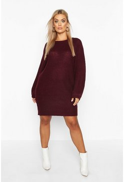 Berry Plus Crew Neck Fisherman Rib Jumper Dress