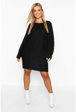 Black Plus Crew Neck Fisherman Rib Jumper Dress
