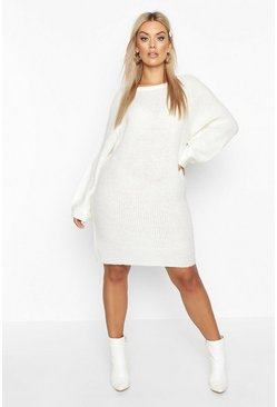 Ivory Plus Crew Neck Fisherman Rib Sweater Dress