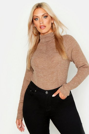 7f15cc309be Plus Rib Knit Roll Neck Jumper