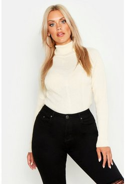 Cream Plus Rib Knit Roll Neck Jumper
