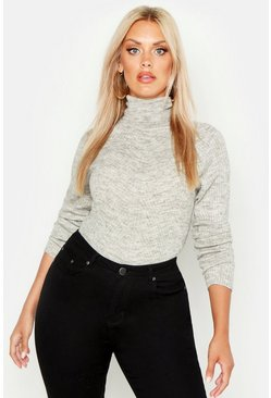 Womens Silver Plus Rib Knit Roll Neck Jumper