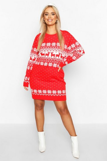 Red Plus Fair Isle Festive Knitted Dress