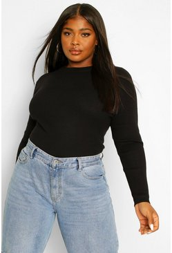 Black Plus Ribbed Turtle Neck Sweater