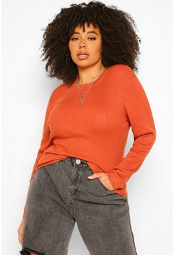 Womens Terracotta Plus Ribbed Turtle Neck Jumper