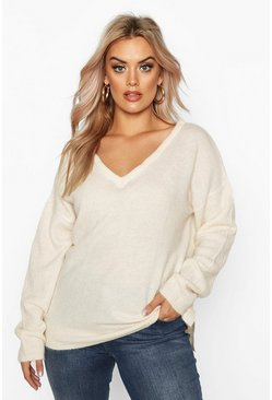 Womens Ivory Plus Jumper With V Neck Detail Front And Back