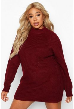 Womens Berry Plus Rib Knit Jumper Dress