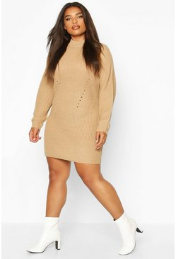 Camel Plus Rib Knit Jumper Dress