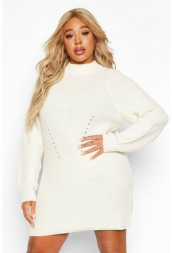 Ivory Plus Rib Knit Jumper Dress