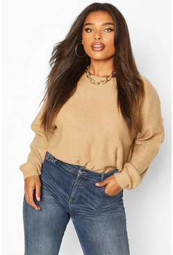 Womens Camel Plus Boxy Scoop Neck Jumper