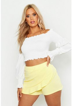 Womens Lemon Plus Ruffle Curved Hem Skort