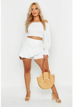Womens White Plus Ruffle Curved Hem Skort