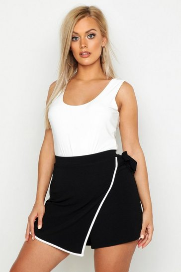 Womens Plus Tie Side Asymetric Skort