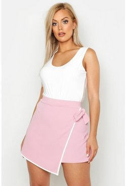 Womens Blush Plus Tie Side Asymetric Skort