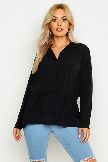 Black Plus Peplum Hem Shirt