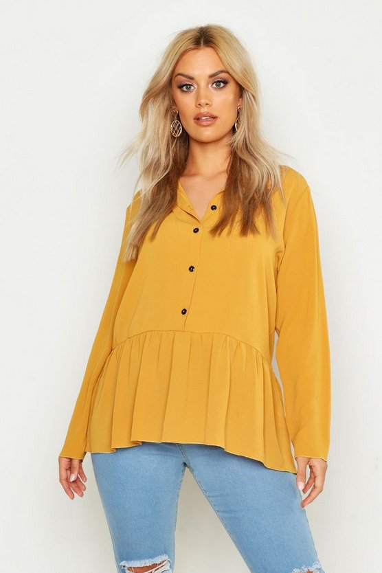 Womens Mustard Plus Peplum Hem Shirt