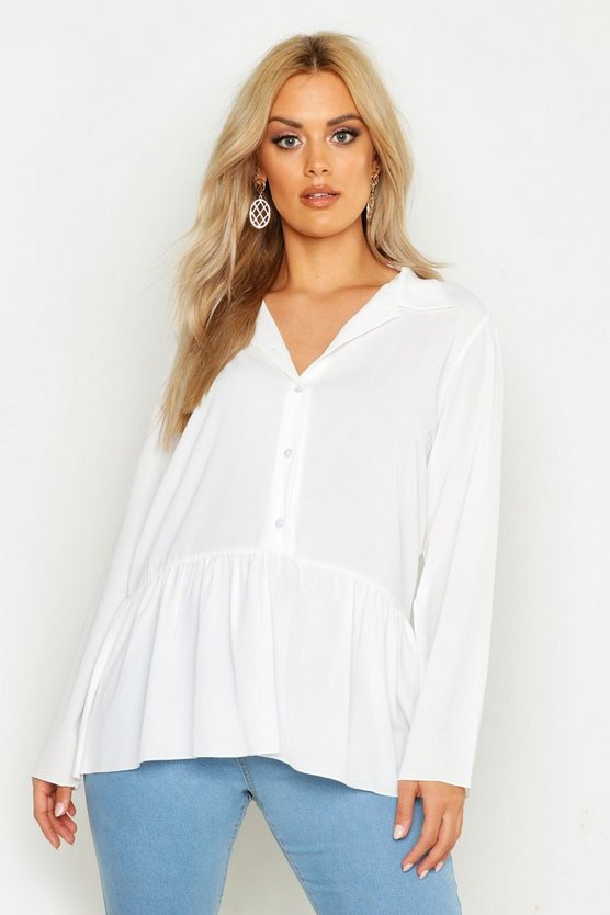 Womens White Plus Peplum Hem Shirt