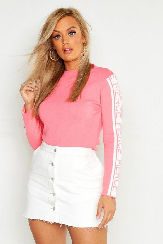 Womens Coral Plus 'Fierce' Sleeve Jumper