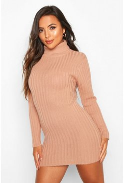 Womens Dusky pink Petite Rib Knit Roll Neck Micro Mini Jumper Dress